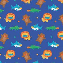 Mask Up Shark Lion Bear Gator - Paintbrush Studio Cotton - 1/2 yard