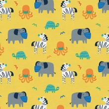 Mask Up Elephant Zebra Turtle Octopus - Paintbrush Studio Cotton - 1/2 yard