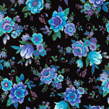 Pretty Floral with Metallic on Black - Timeless Treasures Cotton - 1/2 yard (CM7311-BLK)
