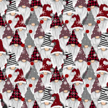 Multi Snow Gnomes Packed - Timeless Treasures Cotton -1/2 yard (C8223-MLT)