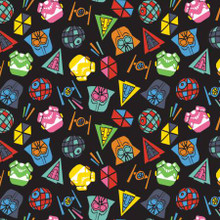 Colourful Heads on Black Star Wars - Camelot Cotton - 1/2 yard (73011101-2)