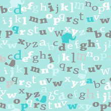 Turquoise Alphabet - AE Nathan Flannel - 1/2 yard (12438AE-TURQ)