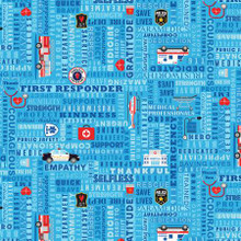 Blue First Responders - Timeless Treasures Cotton - 1/2 yard (C8420-BLUE)