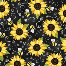 Black Sunflower & Bees - Timeless Treasures Minky - 1/2 yard (PD5345-BLK)