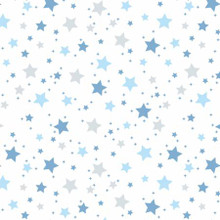 Blue Stars on White - David Textiles Flannel - 1/2 yard (DT48815F3)