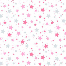 Pink Stars on White - David Textiles Flannel - 1/2 yard (DT48815F4)