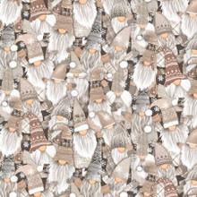Natural Snow Gnomes Packed - Timeless Treasures Cotton -1/2 yard (C8208-NAT)