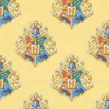 Houses on Yellow Harry Potter - Camelot Cotton - 1/2 yard (23800523-1)
