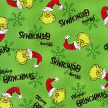 Green Dr. Seuss How the Grinch Stole Christmas - Robert Kaufman Cotton - 1/2 yard (ADE157837)