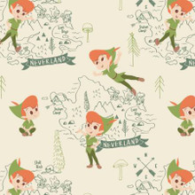 Cream Disney Neverland Peter Pan - Camelot Flannel - 1/2 yard (85330201B-4)