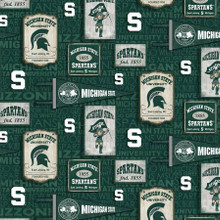 NCAA Michigan State Spartans Vintage Pennant - Sykel Cotton - 1/2 yard (Copy of NC-1178)