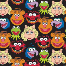 Black Disney The Muppets Cast - Camelot Fabrics - 1/2 yard (85320101-2)