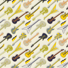 Cream Amped Up Guitars - Camelot Cotton - 1/2 yard (21200101-2)