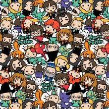 Cartoon Stack Harry Potter Kawaii - Camelot Cotton - 1/2 yard