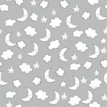 Grey Moons & Clouds - AE Nathan Flannel - 1/2 yard ( 14418AE-GRAY)