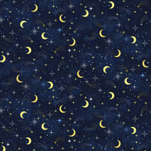 Navy Moon & Stars - Timeless Treasures Cotton - 1/2 yard (C8348-NVY)