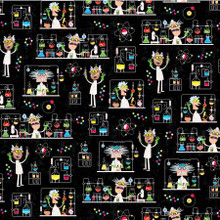 Black Mad Scientist - Michael Miller Cotton - 1/2 yard (DC9714-BLAC)