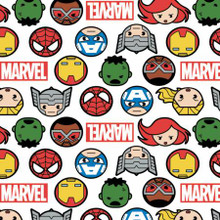 White Marvel Kawaii Hero Faces & Logo - Camelot Cotton - 1/2 yard (13020997-1)