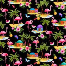Pink Flamingos on Black - Michael Miller Cotton - 1/2 yard (DCX9745-BLAC)