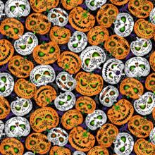 Black Scary Pumpkins Glow - Timeless Treasures Cotton - 1/2 yard (CG8651-BLACK)