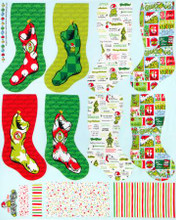 "Grinch Stockings Panel Dr Seuss 24"" x 44"" - Robert Kaufman Cotton (ADE-20276-223)"