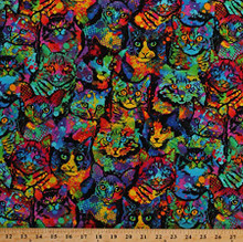 Multi Painted Cats - Timeless Treasures Cotton - 1/2 yard (c4140 multi)