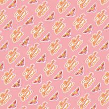 Pink Wonder Woman Retro Logo - Camelot Cotton - 1/2 yard (23421460-1)