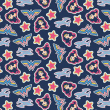 Navy Wonder Woman Tossed Stickers - Camelot Cotton - 1/2 yard (23421457-2)