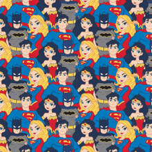 Multi Justice League Stacked Heroes - Camelot Cotton - 1/2 yard (23421463-4)