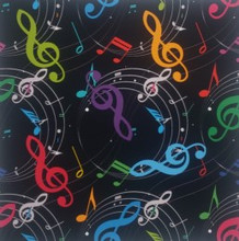 Rainbow Notes on Black - Quilters Choice Cotton - 1/2 yard (QC501)