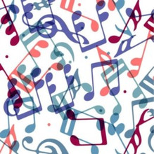 Music Notes on White - Quilters Choice Cotton - 1/2 yard QC502