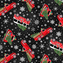 Black Tossed Holiday Cars - Timeless Treasures Minky - 1/2 yard (PD6887-BLACK)