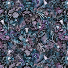 Multi Skull Floral Butterfly Tattoo Print - Timeless Treasures Cotton - 1/2 yard (c8707-MULTI)
