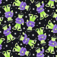 Black Tossed Frankenstein Glow in the Dark Fabric - Henry Glass Cotton - 1/2 yard (9538G-95)