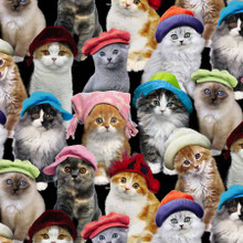 Cats in Hats - Elizabeth's Studio Cotton - 1/2 yard (3805-blk)
