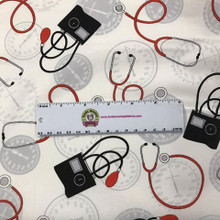 Blood Pressure Cuffs and Stethoscopes - Windham Fabrics Cotton (37304-2)