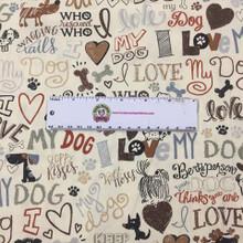I Love My Dog on Cream - Timeless Treasures Cotton (C5710-CREAM)