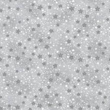 Grey & White Mini Sparkle Stars - AE Nathan Flannel - 1/2 yard