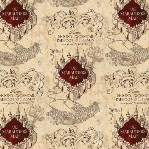 Cream Marauders Map Harry Potter - Camelot Cotton