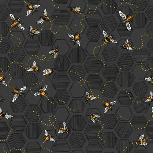 Bees on Charcoal Grey - Paintbrush Studio Cotton - (120-99221)