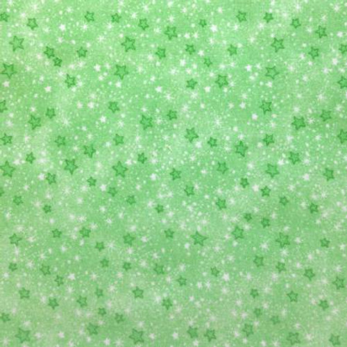 Green Mini Sparkle Stars - AE Nathan Flannel - 1/2 yard