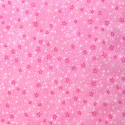 Pink Mini Sparkle Stars - AE Nathan Flannel - 1/2 yard