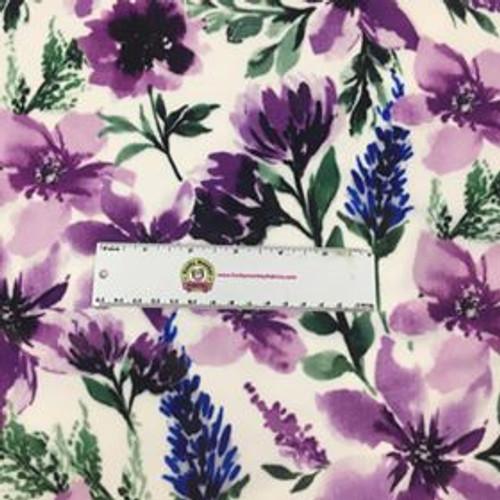 Spring Flowers Wisteria Digital Minky - 1/2 yard
