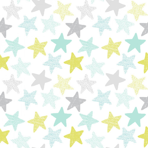 Stars on White Knit - Dear Stella Knit - 1/2 yard