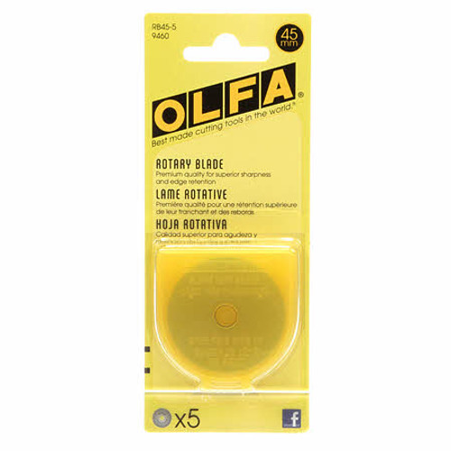 Olfa 45mm Rotary Cutter Replacement Blade 5 pack