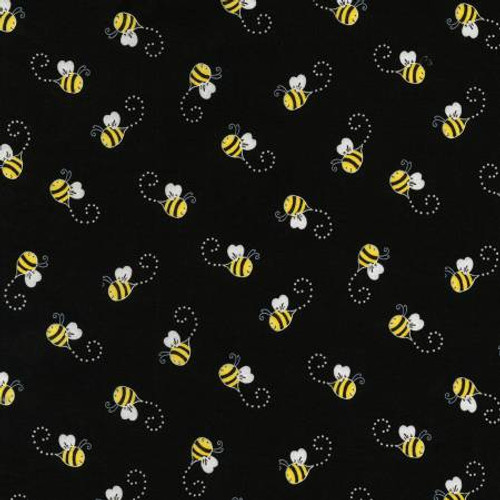 Bees on Black - Timeless Treasures Cotton (C5496-BLACK)