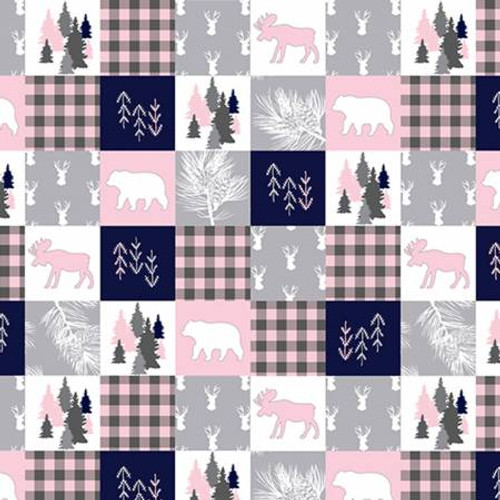 Blush Cabin Quilt - Shannon Fabrics Minky (CABINQUILTBLUSH)