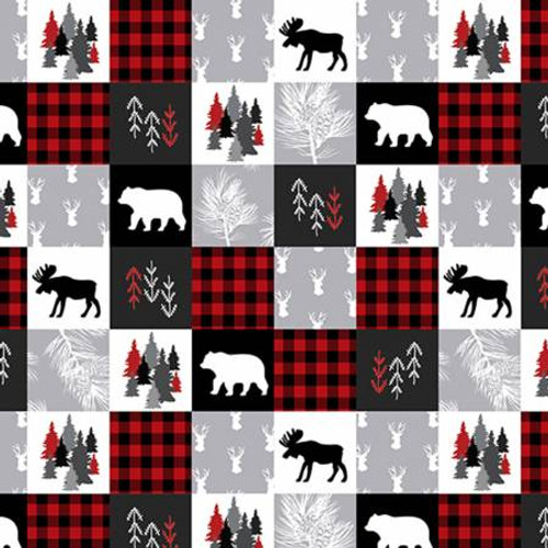 Scarlet Cabin Quilt - Shannon Fabrics Minky (CABINQUILTSCARLET)