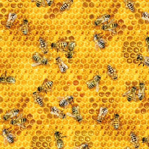 Honey Bees & Beehives - Bees & Flowers - Elizabeth's Studio Cotton