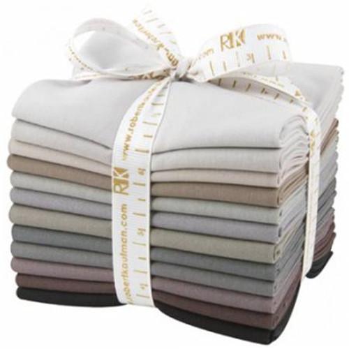 Fat Quarter Bundle - Kona Cotton Gray Area - 12 pieces - Robert Kaufman Cotton (FQ-905-12)